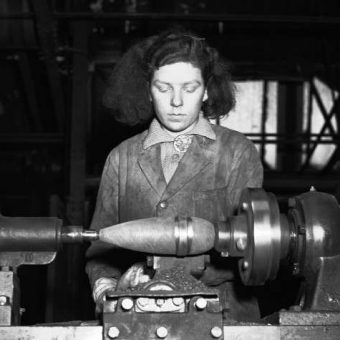 1943: Olive McDonald Brands The Casting Of A 3-inch Mortar-Bomb