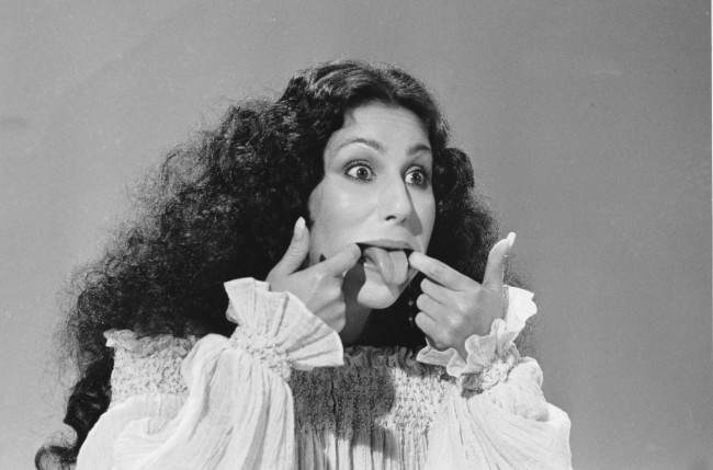 Entertainer Cher sticks her tongue out during taping of a one-hour variety ABC television special