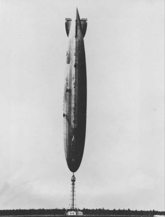 The U.S. Navy's dirigible Los Angeles is shown upside down after a turbulant wind from the Atlantic flipped the 700-foot airship on its nose at Lakehurst, N.J., in 1926. The ship slowly righted itself and there were no serious injuries to the crew of 25.