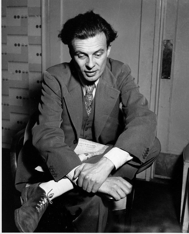 British novelist and essayist Aldous Huxley is photographed in Feb. 1938 at an unknown location.