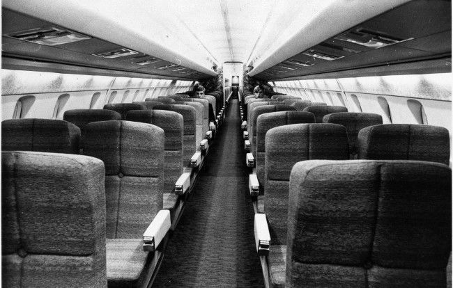 "This is a view of the passengers seats section of the ""Concorde"" mockup at Filton, England June 8, 1968, where the British Prototype 002 is under construction. The ""Concorde"" will accommodate 138 passengers and will fly at a speed of 1,450 mph. the French Prototype 001 is actually under tests in France."