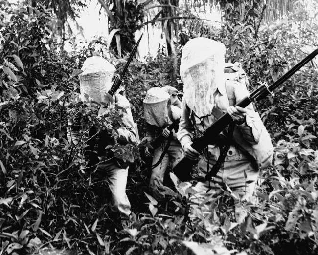 Protected by mosquito nets over their helmets, those United States soldiers stationed in Dutch Guiana are scouting through the jungle oApril 27, 1942.