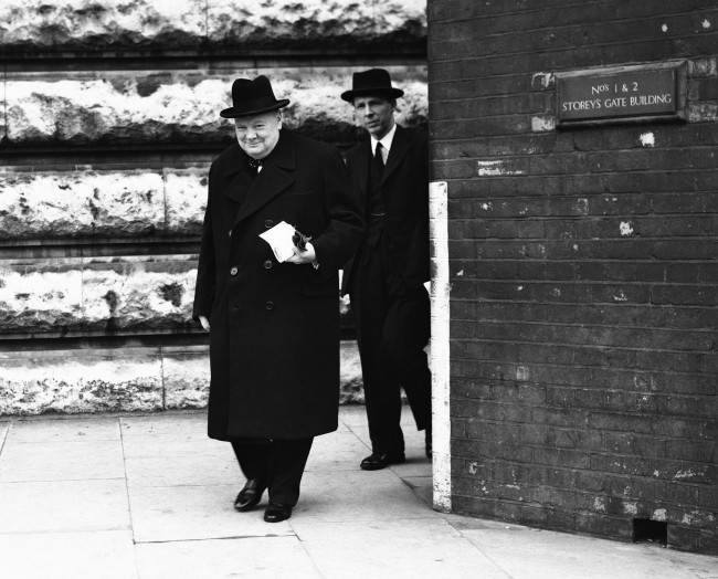 Britain's Prime Minister Winston Churchill leaving for the House Of Commons, London, to open the 3-day debate on the Crimea conference, on Feb. 27, 1945. His speech is expected to be one of the longest and most informative statements he has yet made.