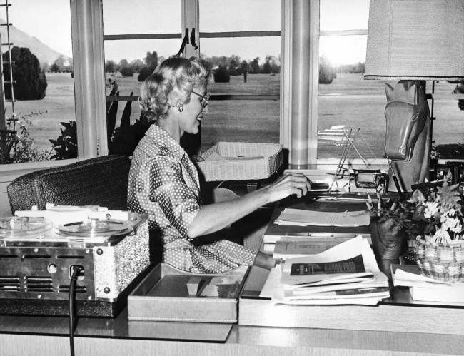 In her study, Clare Boothe Luce works while she listens to tape recordings in Portuguese. The brilliant writer and diplomat is relaxing at her home in Phoenix, Arizona, United States, on March 19, 1959, while awaiting Senate confirmation of her appointment as ambassador to Brazil.