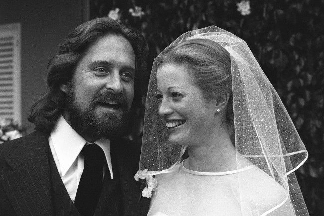Actor Michael Douglas, son of actor Kirk Douglas, is shown on his wedding day in Los Angeles to Diandra Lucker, March 21, 1977.