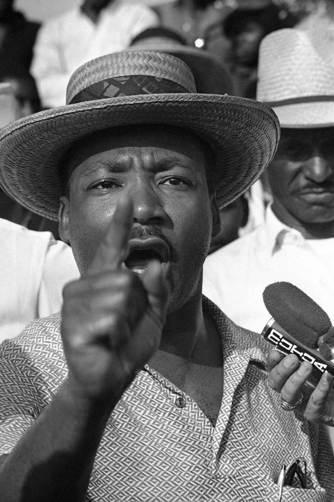"""We want all our rights and we want them now,"" says Dr. Martin Luther King as he addresses some 200 marchers that accompanied him and other Civil Rights leaders on a trek along U.S. 51 in Northwest Mississippi in Senatobia, Wednesday, June 9, 1966. The march is being made along a route chosen by James Meredith for a Memphis-to-Jackson walk before he was wounded from ambush on Monday."