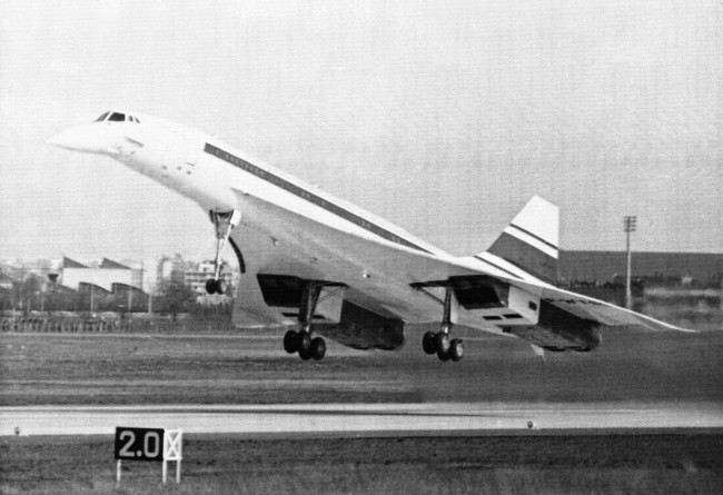 "The Concorde supersonic airliner, a joint British-French venture, takes off at Toulouse-Blagnac airport, March 2, 1969 at Toulouse, France, in its maiden flight. The airliner, built to fly at twice the speed of sound, did not exceed 350 mph in its 27 minute flight. British officials hailed the flight as a ""Soaring Triumph"". Although the Concorde is the first western supersonic airliner, a soviet version, the Tupolev 144, made its first flight about two months ago."