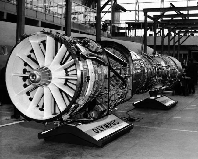 A Bristol Siddeley Olympus jet engine of the type which will power the Concorde, the Anglo French supersonic airliner, is pictured at the British Aircraft Corporation factory in Bristol, England, 1963.