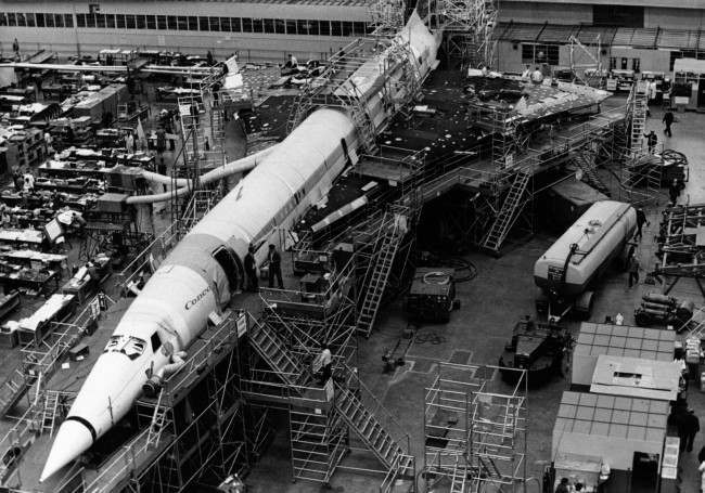 This is an overhead general view of the fuselage section of the Anglo-French supersonic jet airline Concorde, whose British prototype is under construction at the British Aircraft Corporation works at Filton, England, June 8, 1954.