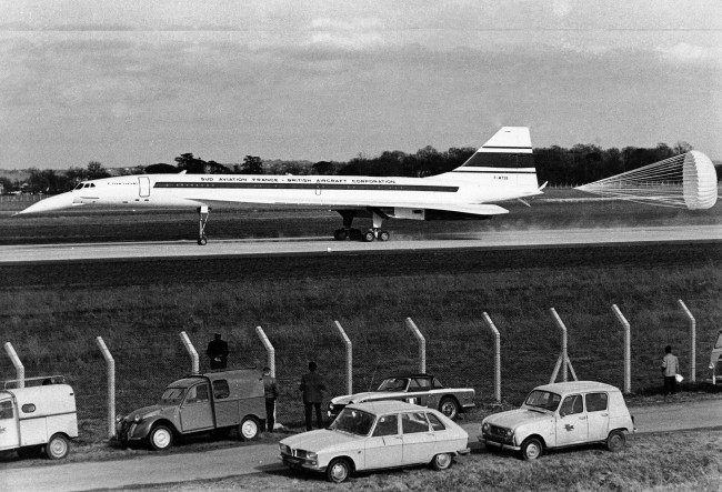 Brake parachute blossoms from tail of the supersonic Concorde airliner as it rolls down runway at the Toulouse-Blagnac Airport in France, March 2, 1969 after a 27-minute maiden test flight. Flight was described as perfect by test pilot Andre Turcat. The plane was the joint product of the British Aircraft Corp., and Sud-Aviation France.