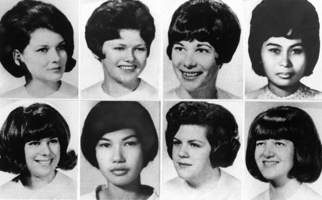 From left, top are: student nurses Gloria Davy, 23, Mary Ann Jordan, 23, Suzanne Farris, 22, and Valentia Pasion, 23, and bottom, Patricia Matusek, 21, Marlita Gargullo, 21, Pamela Wilkening, 22, and Nina Schmale, 21, who were slain in 1978 by Richard Speck.