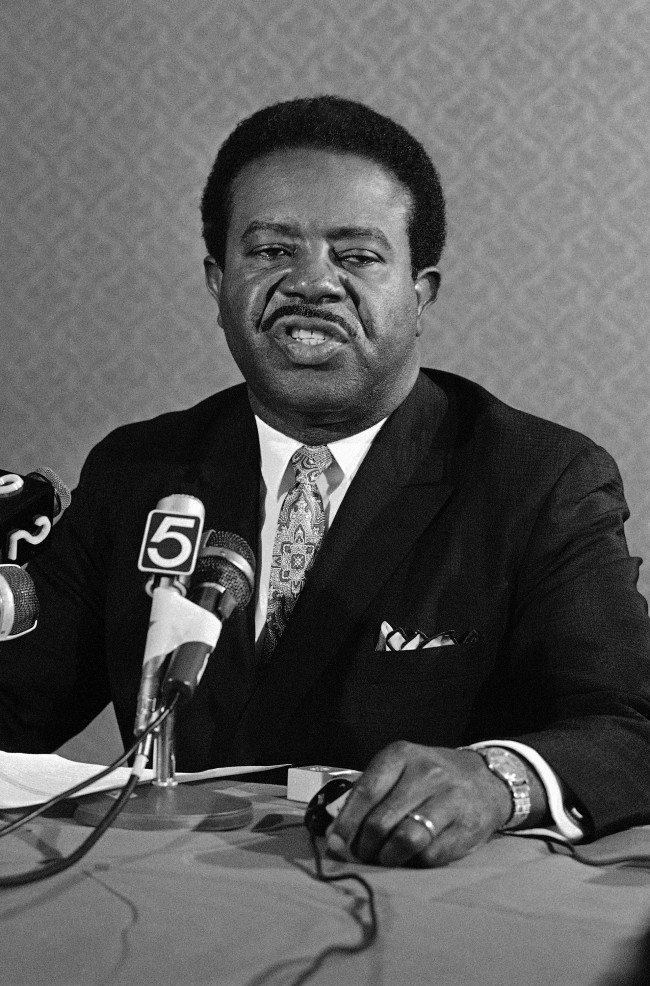 The Rev. Ralph David Abernathy tell an Atlanta press conference, Monday, March 10, 1969 that James Earl Ray's admission of guilt strengthens his belief that there was a conspiracy in the slaying of Dr. Martin Luther King Jr. Abernathy succeeded King as head of the Southern Christina Leadership Conference.