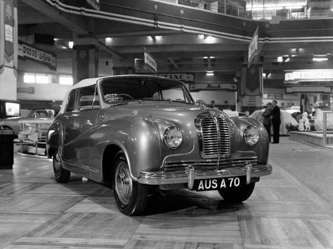 The new Austin A 70 Hereford Coupe car on show at the 35th International Car Exhibition at Earls Court, London, on Oct. 17, 1950.