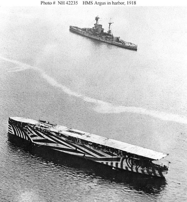 HMS Argus (an aircraft carrier of the Royal Navy between 1918 and 1944. After the WWII it became an accommodation ship and sold in late 1946 for scrap.)