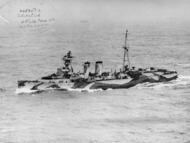 HMS Adventure (a minelaying cruiser of the Royal Navy, launched in 1924, sold for scrapping in 1947)