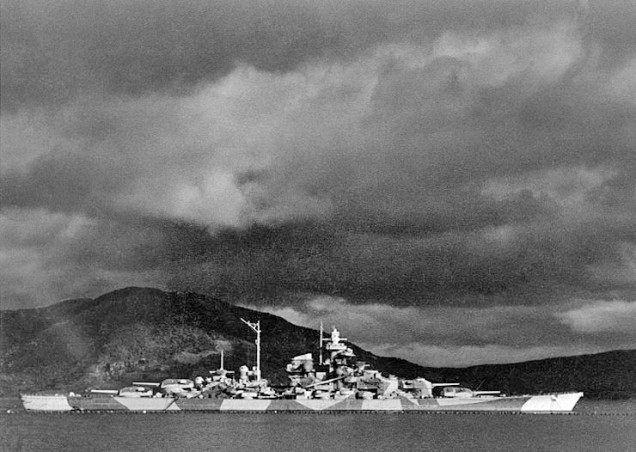Tirpitz (a Bismarck-class battleship of the German War Navy Kriegsmarine, commissioned in 1941, sunk by Royal Air Force bombers in November 1944)