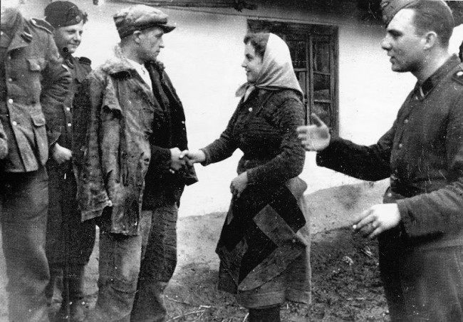 Parting with brother-volunteer of the 14th SS division, Western Ukraine, May, 1944