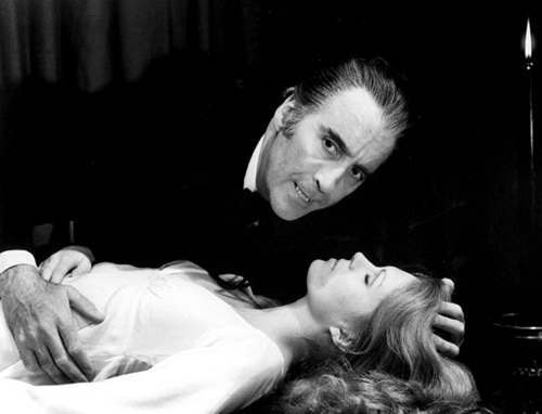 Christopher Lee as Count Dracula and Joanna Lumley as Jessica Van Helsing in THE SATANIC RITES OF DRACULA