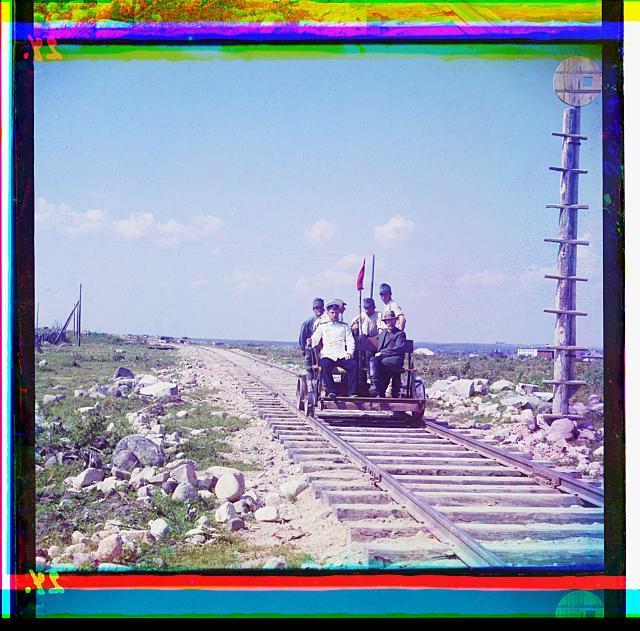On the handcar outside Petrozavodsk on the Murmansk railway