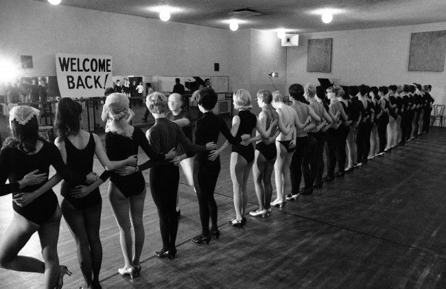 Members of the high-kicking Rockettes line up for their first rehearsal, as they prepare to go back onstage at the Radio City Music Hall in New York on Oct. 13, 1967. The girls returned after a 27-day strike and under their new agreement will receive rehearsal pay