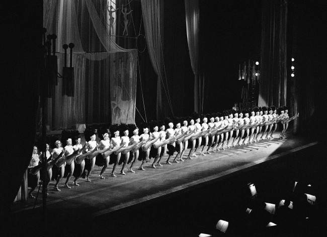 "World-famous Radio City Music Hall Rockettes perform in their ""Parisien Ponies"" number on August 24, 1976."