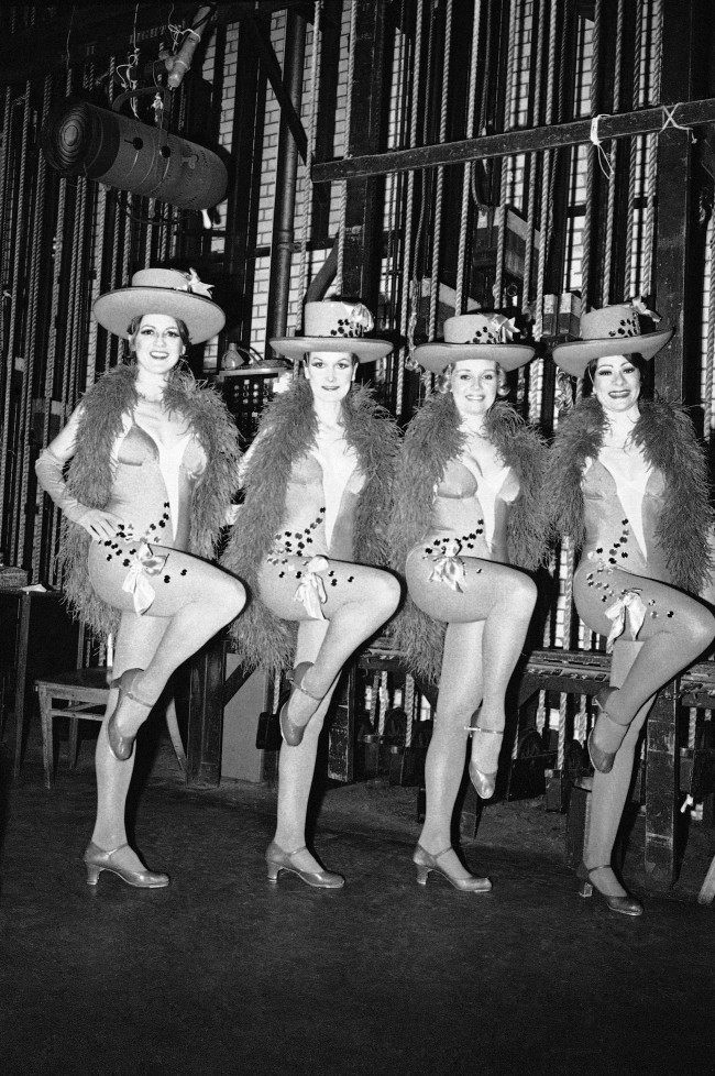 Four members of the famous Rockettes troupe pose just before showtime at New York's Radio City Music Hall on Jan. 6, 1978. They are, from left: Jackie Fancy, Joan Peer, Carol Harbich and Eileen Collins. The last line-up for the Rockettes troupe, the most famous precision dancing group in the world, may be on April 12. That is when their home, the music hall plans to close after 45 years in Rockefeller center.