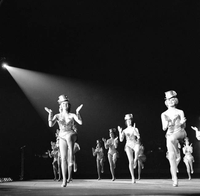 The Manhattan Rockettes from New York City kick up their heels entertaining Indiana Republicans in Indianapolis on Nov. 14, 1961. The fund-raising show cost $25,000 to produce.
