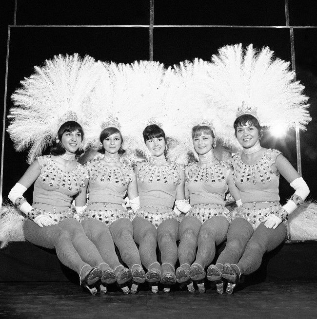 These girls are among the ten replacements filling in as Rockettes for the summer at the famed Radio City Music Hall in New York on July 30, 1965. The job gives the girls the opportunity for hard work, long hours, the thrill of big time show business and perhaps a springboard to stardom. From left: Donna Sarantakes, Boston; Carolyn Bahr, Pittsburgh; Kathy Christie, Union, N.J.; Nancy Conant, Jacksonville, Ill., and Joan Sheary, Worcester, Massachusetts.