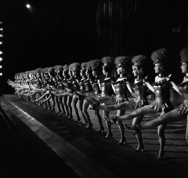 The 36 Rockettes go through a dance number as they rehearse for their Christmas show at Radio City Music Hall in New York in December 1963.