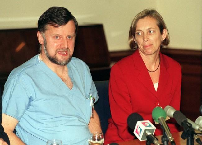 "Donald Gibb, consultant obstetrician at King's College Hospital, south-west London, and Cathy Warwick, Director of Midwifery, speaking at a news conference this morning (Tuesday), where he described the condition of multiple birth mother Mandy Allwood as ""satisfactory"". Miss Allwood was admitted to the hospital yesterday where she lost three of her expected eight babies. Photo by David Cheskin/PA. SEE PA STORY HEALTH Allwood. Ref #: PA.1029363  Date: 01/10/1996"