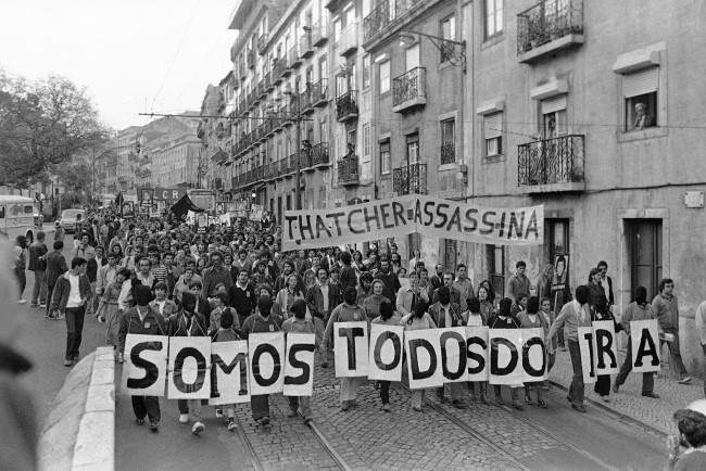 "Demonstrators spelling out ""We are all IRA"" protest the death of Bobby Sands at a Lisbon, Portugal on May 6, 1981 march on the British Embassy."