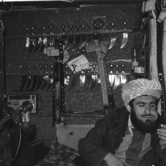 Khat In 1985: The North Yemen Artisan Chews Khat Surrounded By His Daggers And Swords