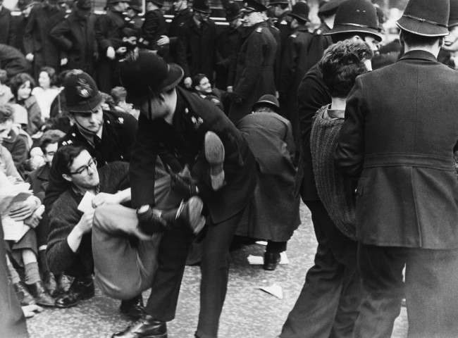 London policemen had to carry these Ban-the-bomb demonstrators to waiting trucks on April 29, 1961,