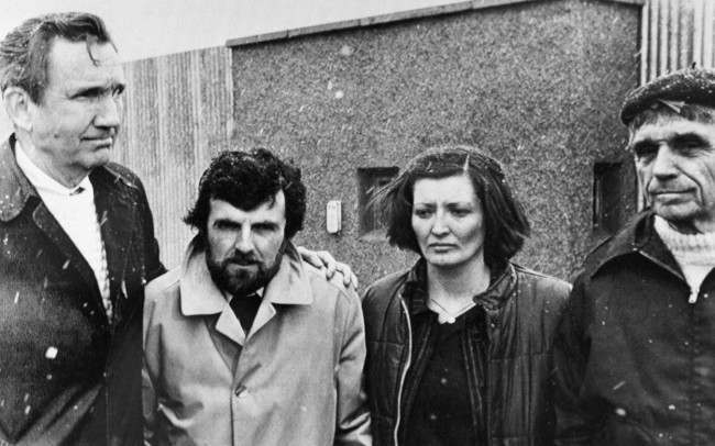 Outside the Maze prison in Belfast on April 24, 1981, Mr. Ramsey Clark, former U.S. attorney general, Mr. Owen Carron, Bobby Sands election agent, Marcells Sands, sister of Sands, and Daniel Benrigan, U.S. civil rights. They escorted the Sands family for a visit to hunger striker Bobby Sands. Ramsey Clark has been refused permission to see Sands. (AP Photo/Peter Kemp)