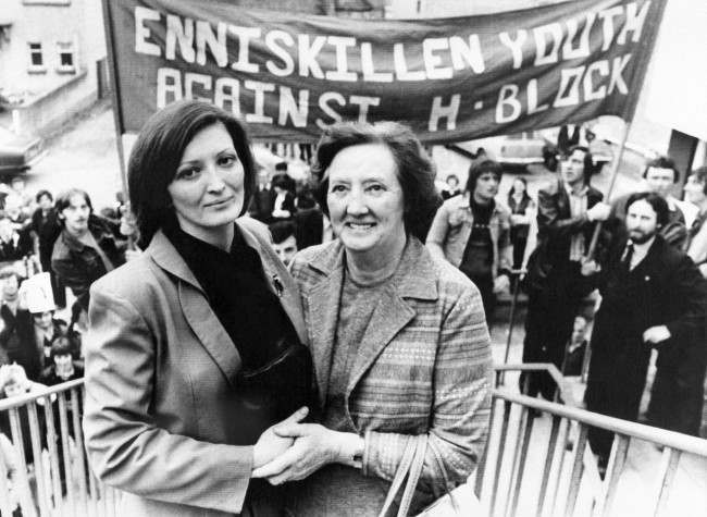 Mrs. Rosaleen Sands, right, mother of the successful hunger-striker Bobby Sands after the result in Enniskillen on April 10, 1981. The woman at left is Marcella, sister of elected hunger-striker Bobby Sands, after court gave the IRA man victory in Enniskillen on Friday. (AP Photo)