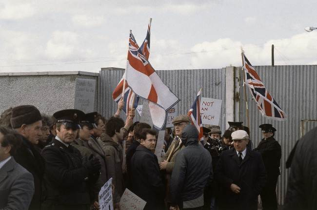 Protests regarding hunger striker Bobby Sands in April, 1981 in Northern Ireland.