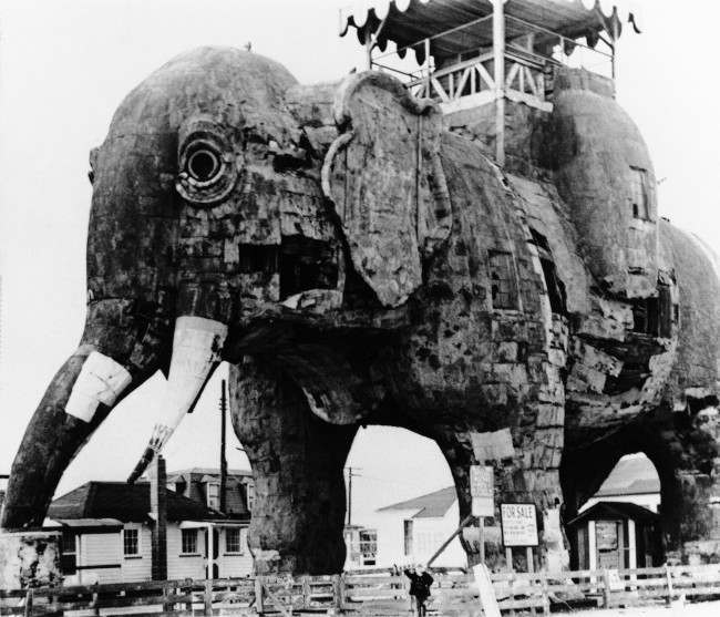 Lucy, the 88-year-old elephant who is a city landmark, will be restored and converted into a children's library, if Margate residents get their way in Margate, New Jersey on Jan. 23, 1970. The Save Lucy Committee is in the throes of a campaign to raise money to move Lucy onto city property from the privately-owned site which is up for sale, and then beautify her. Lucy dwarfs admirer Stacey Kroger, 5. (AP Photo)