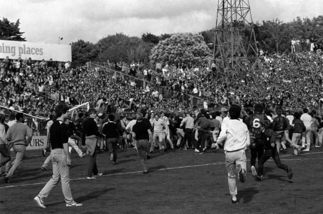The 44th anniversary of the start of World War II was marked in Brighton by a day of vioence, when the home team met Chelsea. Fans rampaged the Goldstone Road ground, and smashed a goal crossbar when they invaded the pitch. * Eight policemen were hospitalised. Date: 04/09/1984
