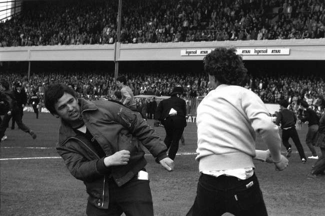 Hooligans Arsenal v Villa Fighting on the pitch at Highbury during the match between Arsenal and Aston Villa. Date: 02/05/1981