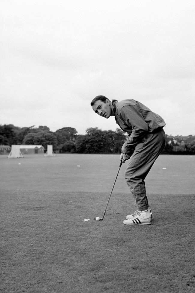 """Will he sink the putt?"" and ""Will he play in the World Cup Final?"" are two questions that Jimmy Greaves poses for his team-mates. Jimmy gives an immediate answer to the first when training with other England men at Roehampton, London. The answer to the second lies with the inscrutable Alf Ramsey. Ref #: PA.1545971  Date: 29/07/1966"