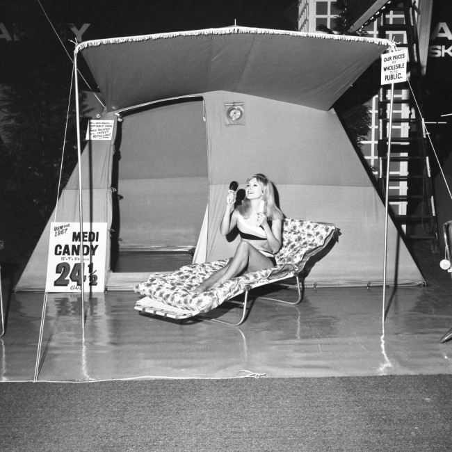 Rosemary Donnelly, 21, of Plymouth, inside a new 1967 Medi Candy luxury tent, with a selling price below comparable products from Europe, during the 9th Camping and Outdoor Life Exhibition at Olympia, London. The tent, which can be easily packed into a car boot, has a porch and includes an air-operated fan ventilator. Archive-pa126426-2 Ref #: PA.16532052  Date: 03/02/1967