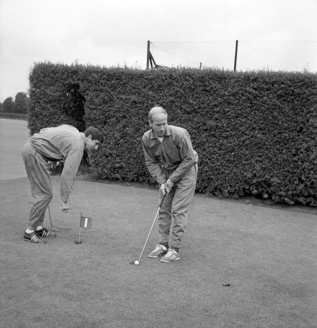 Bobby Charlton playing golf at Roehampton, London, before tomorrow's World Cup final match against West Germany at Wembley. Ref #: PA.17724872  Date: 29/07/1966