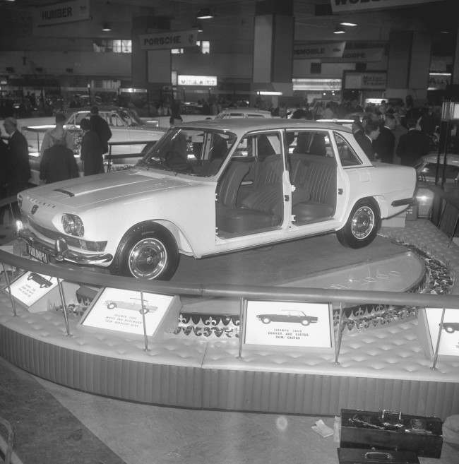 The latest British car - the Triumph 2000, a four-door five-seater saloon - at the Motor Show at Earls Court in London. Date: 15/10/1963