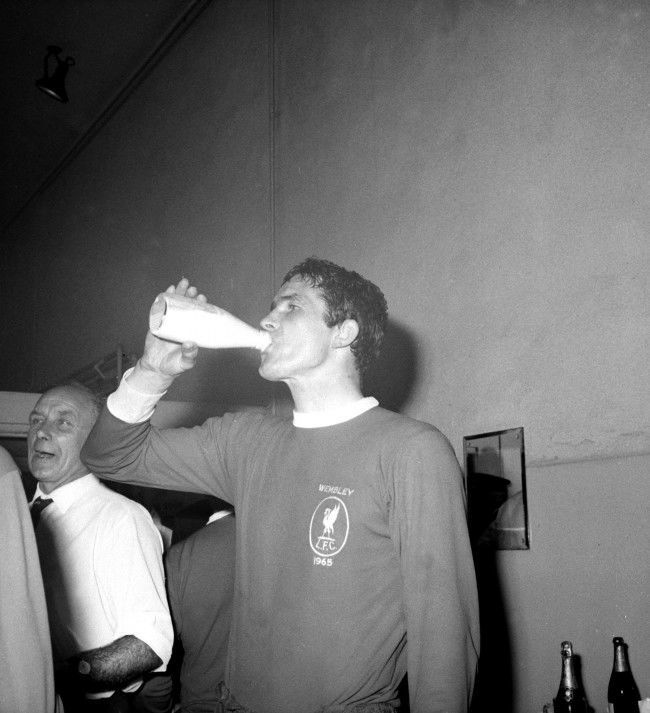 Liverpool captain Ron Yeats celebrated with a pint of milk