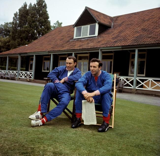 England's Jimmy Greaves and Jimmy Armfield take it easy during a training session at Roehampton Ref #: PA.2219403  Date: 15/07/1966