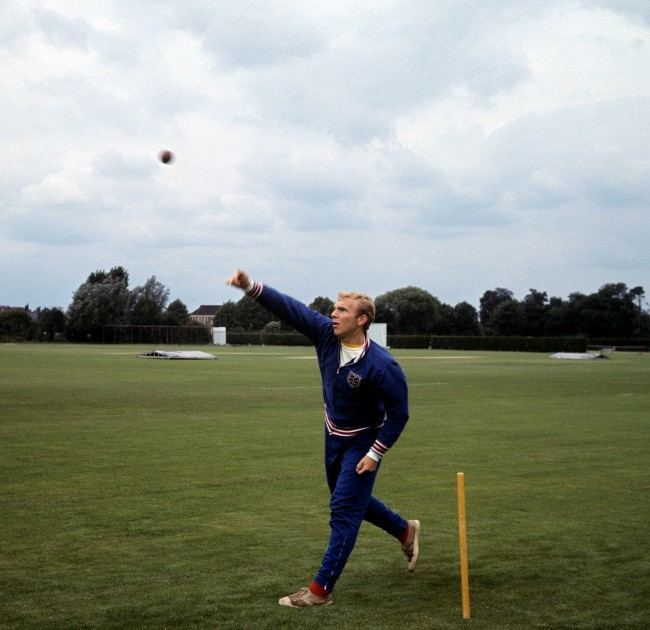 England captain Bobby Moore tries his hand at cricket during a training session at Roehampton Ref #: PA.2219405  Date: 15/07/1966