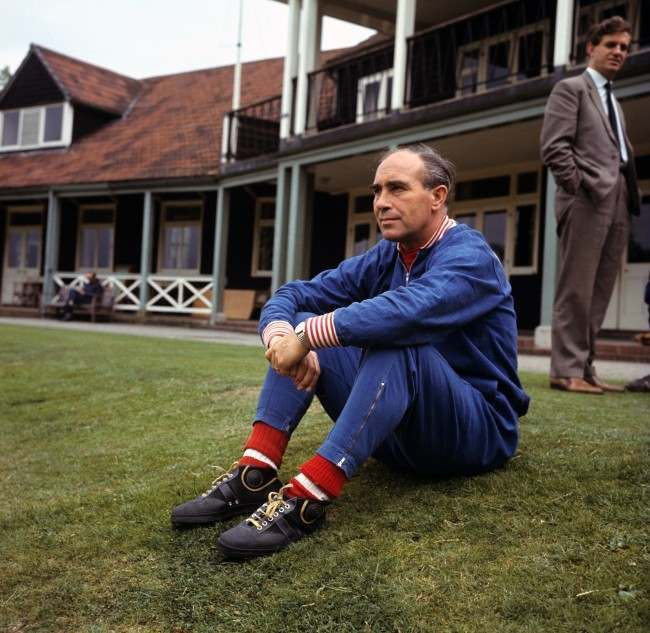 England manager Alf Ramsey contemplates winning the World Cup during a training session at Roehampton Ref #: PA.2219406  Date: 15/07/1966