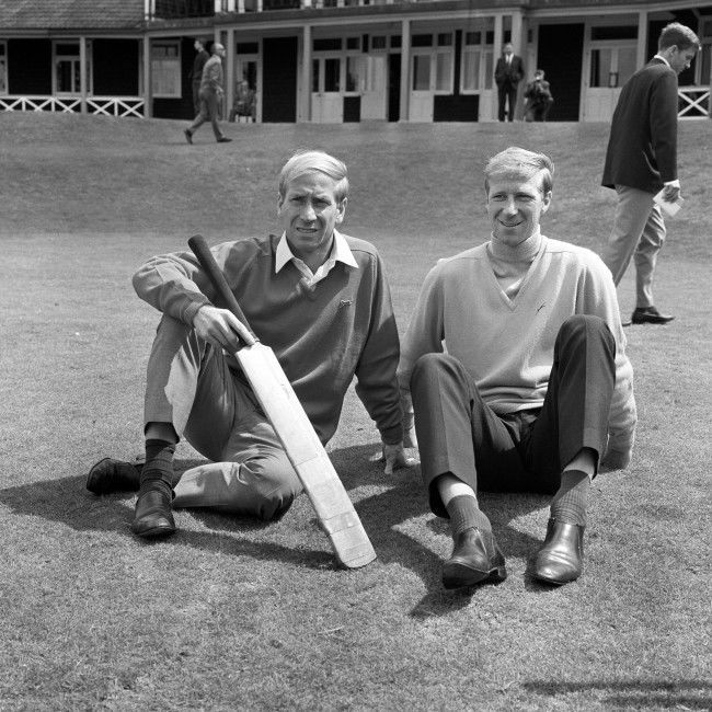 England's Charlton brothers, Bobby (l) and Jack (r), relax after a game of cricket Ref #: PA.2501878  Date: 29/07/1966