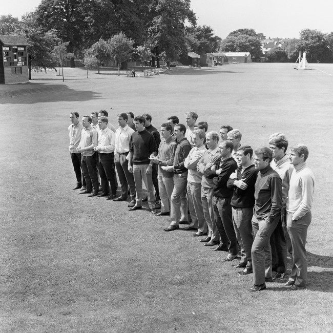 The England squad are all ears as they gather at Roehampton to prepare for the following day's World Cup Final: (l-r) Jimmy Greaves, Nobby Stiles, trainer Les Cocker, trainer Harold Shepherdson, Alan Ball, Geoff Hurst, George Cohen, Peter Bonetti, Ron Springett, Terry Paine, Gordon Banks, Gerry Byrne, Jack Charlton, Martin Peters, George Eastham, Bobby Charlton, Jimmy Armfield, Ray Wilson, Ron Flowers, Ian Callaghan, John Connelly, Bobby Moore, Norman Hunter, Roger Hunt Ref #: PA.2558683  Date: 29/07/1966