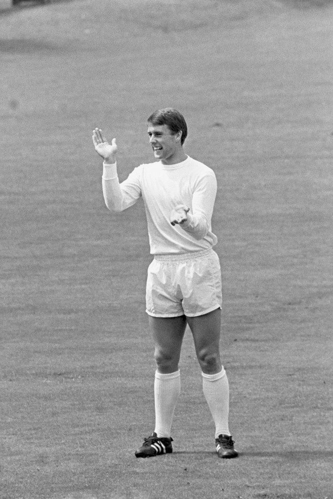 England striker Geoff Hurst shows his approval at some nice work on the cricket field during a light-hearted game. Ref #: PA.2658963  Date: 25/07/1966